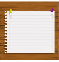 notebook paper with wood background icon vector image