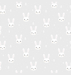 tribal seamless pattern with cartoon bunnies vector image vector image