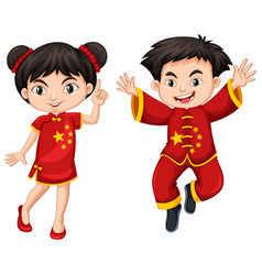 chinese boy and girl in red costume vector image vector image