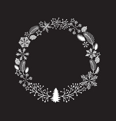 christmas wreath isolated on vector image