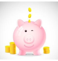 Coin falling into piggy bank vector