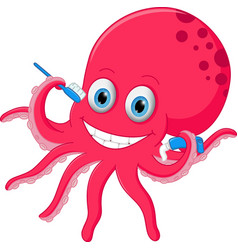 cute octopus cartoon with toothbrush and toothpast vector image vector image