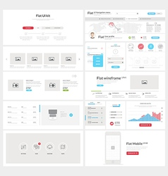 Flat website mobile UI kit for business templates vector image vector image