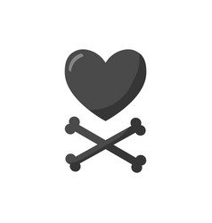 heart and crossbones flat icon vector image vector image