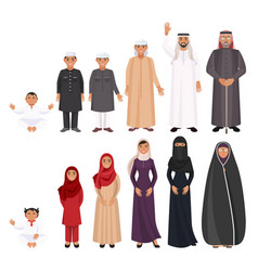 men and women traditioanal arabic clothes for all vector image vector image