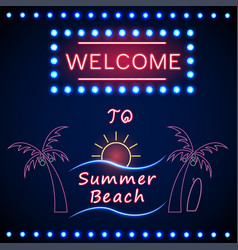 neon shining beach party with palm tree and sun vector image vector image