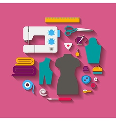 Sewing design concept set style flat vector