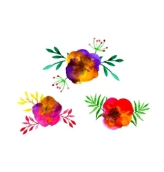 Watercolor Leaves Colored Icon Set vector image vector image