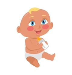 Baby Sitting on the Floor with a Bottle vector image