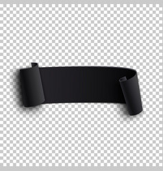 black realistic curved paper ribbon vector image vector image