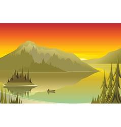 canoe at sunrise vector image
