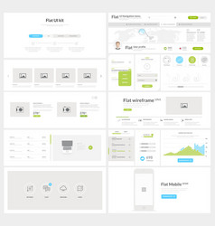 Flat website mobile UI kit for business templates vector image