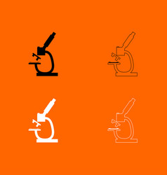 microscope black and white set icon vector image