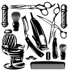 Monochrome set of accessories and tools in vector