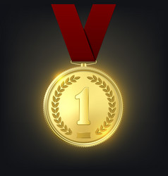 3d realistic golden medal with red ribbon vector