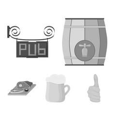 a wooden barrel with a faucet a pub sign a mug vector image