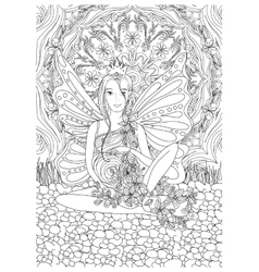 Adult coloring book page with Pregnant lady vector