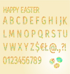 Alphabet of Easter Eggs Happy Easter vector image