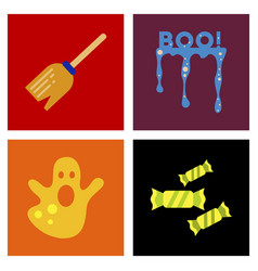 Assembly flat icons halloween boo ghost candies vector