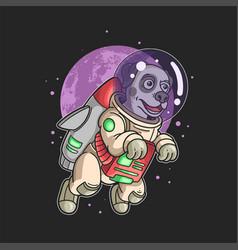 Astronaut dog flying in the galaxy vector