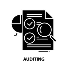 Auditing icon black sign with editable vector
