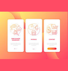 Breastfeeding tips onboarding mobile app page vector