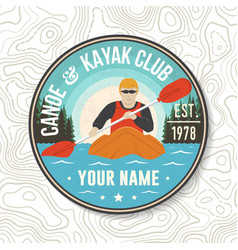 Canoe and kayak club patch concept vector