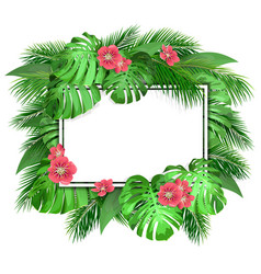 card with tropical leaves vector image