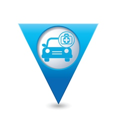 cars first aid kit BLUE triangular map pointer vector image