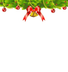 Christmas background with fir and red ribbon vector image