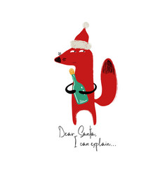 Christmas card with funny fox vector
