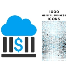 Cloud Bank Icon with 1000 Medical Business Icons vector image