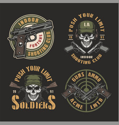 Colorful military emblems vector