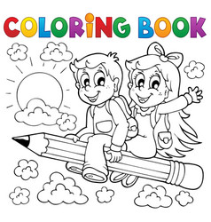 coloring book pupil theme 3 vector image