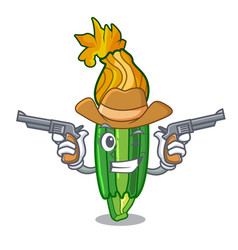 Cowboy zucchini flowers obtained by mixing mascot vector