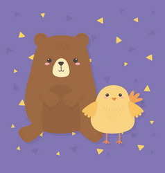 Cute bear and chick animals farm characters vector