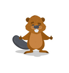 Cute cartoon beaver waving with his hands vector