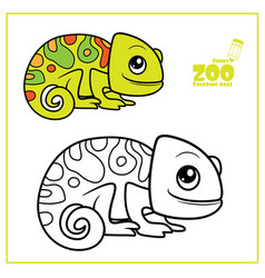 cute cartoon little chameleon color and outlined vector image