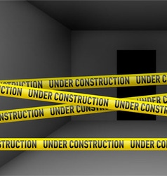 Dark room with danger tape vector image