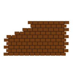 destroyed brick wall icon flat style vector image