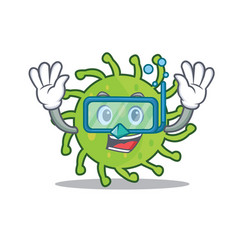 Diving green bacteria character cartoon vector