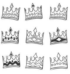 Doodle of crown hand draw set vector