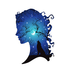 Double exposure silhouette woman and wolf vector