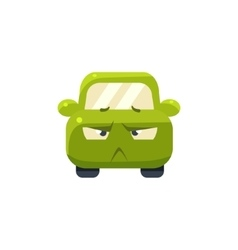 Doubtful green car emoji vector