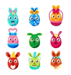 Easter Egg Shaped Easter Bunnies Colorful Girly vector