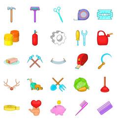 Fabrication icons set cartoon style vector