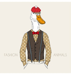 fashion of goose dressed up in retro style vector image