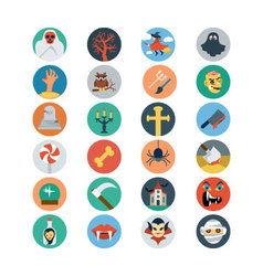 Flat Halloween Icons 2 vector image