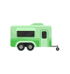 Flat icon of bright green camper trailer vector