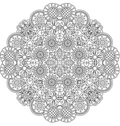 Floral lace style round decorative element vector
